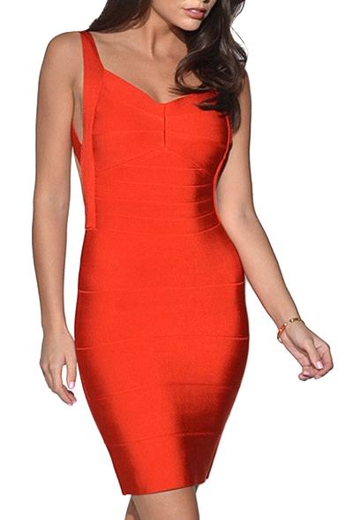 Red Strap Open Back Bandage Dress