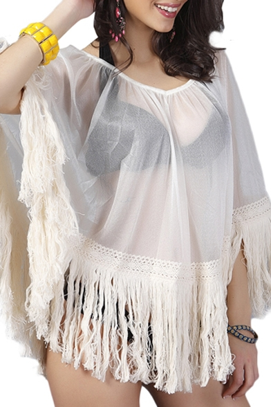 Sexy Illusion V-Neck Tassel Hem Smock Cover Up