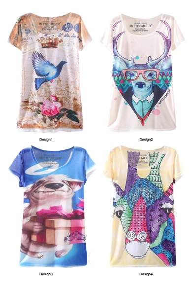 Animal Letter Print Round Neck Batwing Sleeve T-Shirt