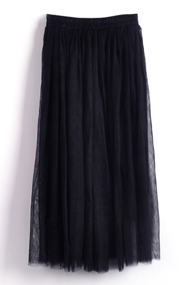 Black Double Mesh Layer A-line Tea Length Skirt