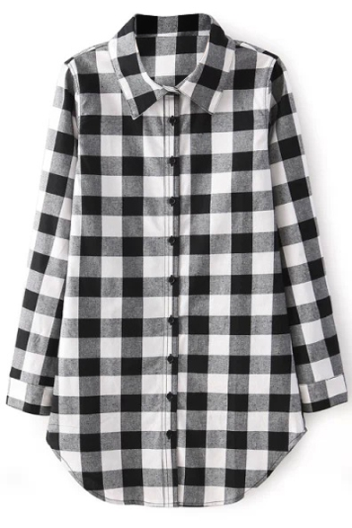 Black&White Plaid Midi Long Sleeve Shirt