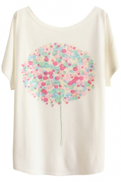 Colorful Balloons&Girl Print White Tee