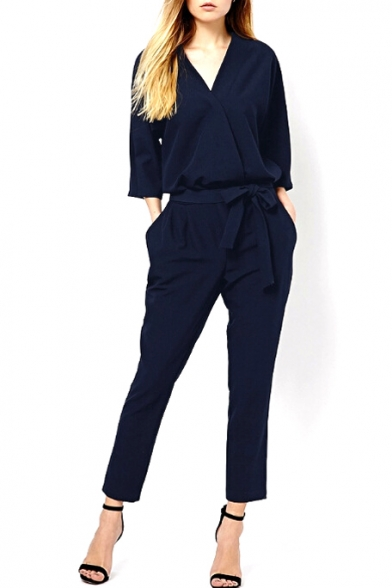 Dark Blue V-Neck 3/4 Sleeve Waist Tie Jumpsuit