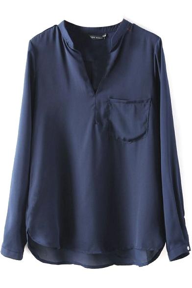 Dark Navy Pockets V-Neck Long Sleeve Chiffon Blouse