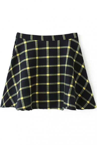 Yellow Plaid High Waist Pleated Mini Skirt Beautifulhalo Com