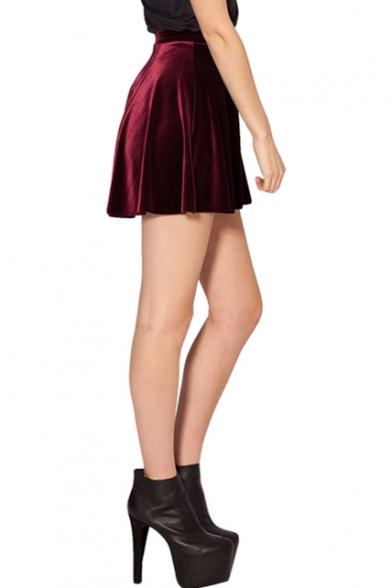 3b5e871ef Burgundy Club Style Mini Velvet Skater Skirt - Beautifulhalo.com