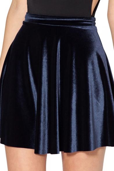 3ddc4727f9 Dark Blue Velvet Skater Skirt - Beautifulhalo.com