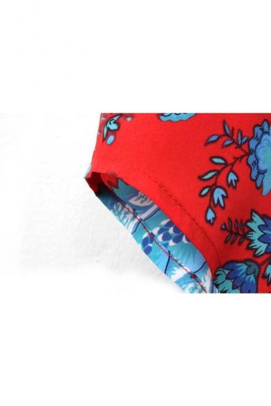 Eastern Style Print Long Sleeve Lapel Shirt