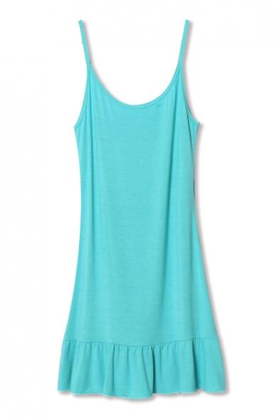 Lake Blue Ruffle Hem Modal Slip Mini Dress