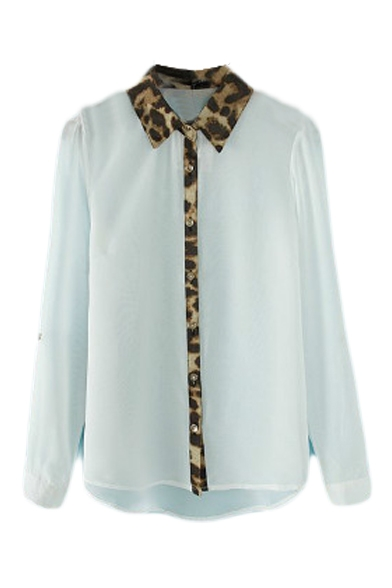 Leopard Collar and Placket Long Sleeve Chiffon Shirt