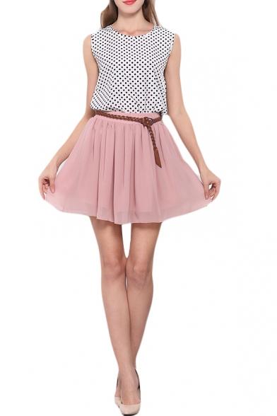 Pink Double Layer Chiffon Pleated Mini Skirt - Beautifulhalo.com