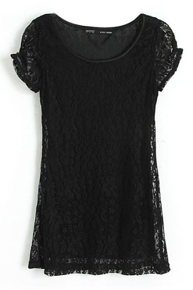 Plain Lace Inserted Round Neck Short Sleeve Dress