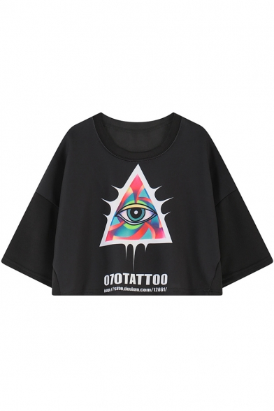 Triangle Colorful Eye Letter Print Short Sleeve Crop Tee