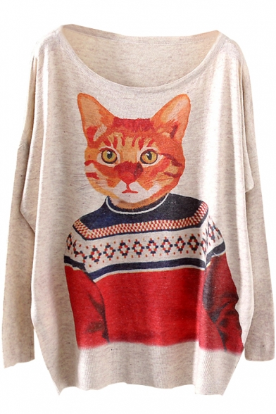 Wearing Top Mr.Cat Print Loose Sweater
