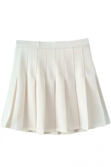 White Pleated Tennis Style Skirt