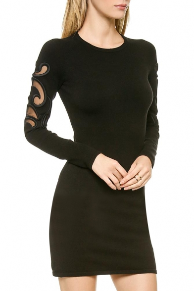 Black Mesh Cutout Long Sleeve Fitted Dress