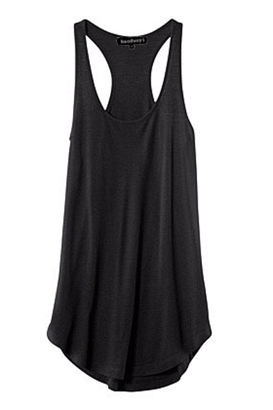 Black Racer Back Sleeveless Round Neck Tank