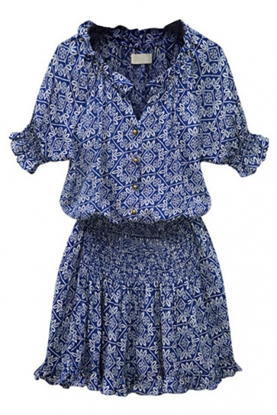 Blue Print Short Sleeve Gathered Waist Dress