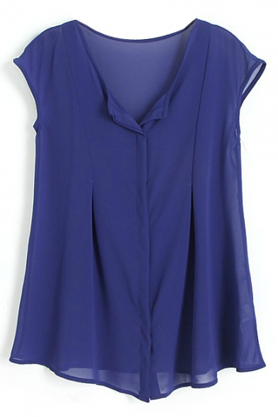 Sleeveless Round Neck Chiffon Blouse