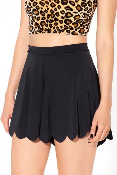 Curve Hem Black Mini Pleated Skirt