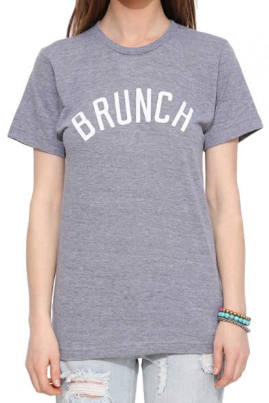 Short Print Gray Shirt T Sleeve Brunch BWqxWOd0w