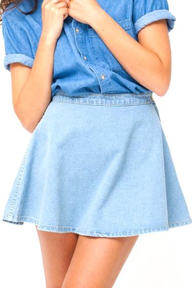 Light Blue Plain Mini Full Denim Skirt - Beautifulhalo.com