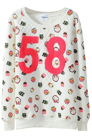 Owl Diamond Pattern Letter Panel Sweatshirt in Loose Fit