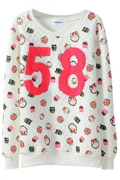 Owl Diamond Pattern Letter Panel Sweatshirt in Loose Fit