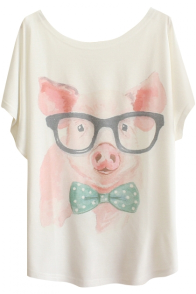 Wearing Glasses Piggy&Dog Print White Tee