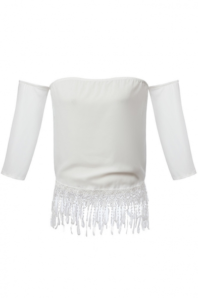 White Off the Shoulder Tassel Trim Blouse