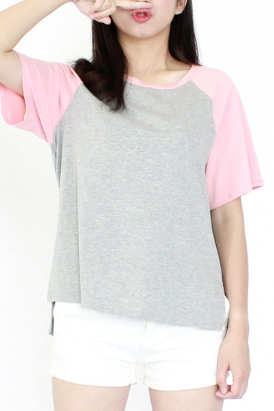 Color Block Round Neck Raglan Sleeve Tee with Dip Hem