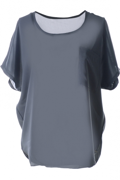 Gray Short Sleeve Pocket Front Chiffon Blouse