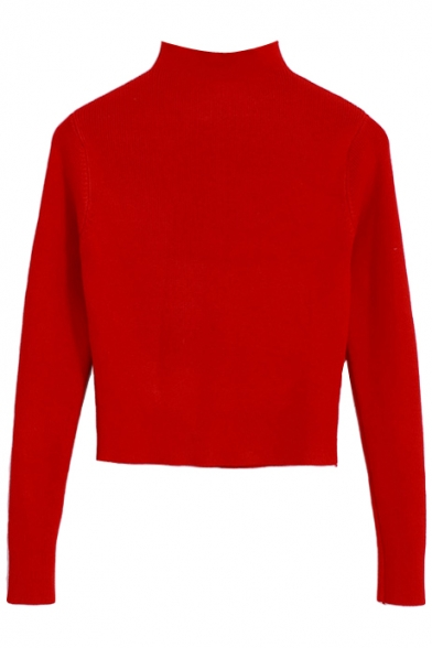 High Neck Plain Elastic Knitted Crop Sweater