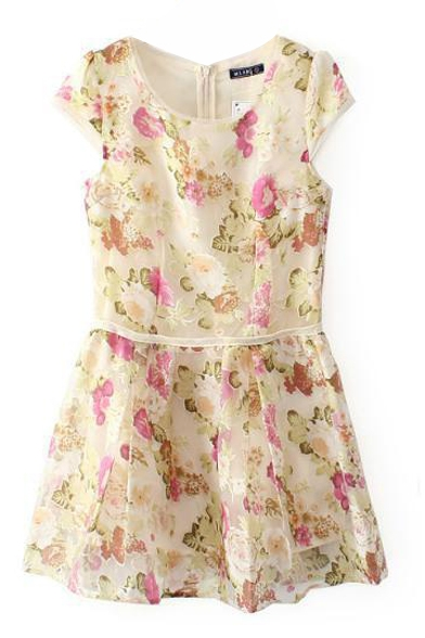 Organza Cover Flower Print Short Sleeve A-line Beige Dress