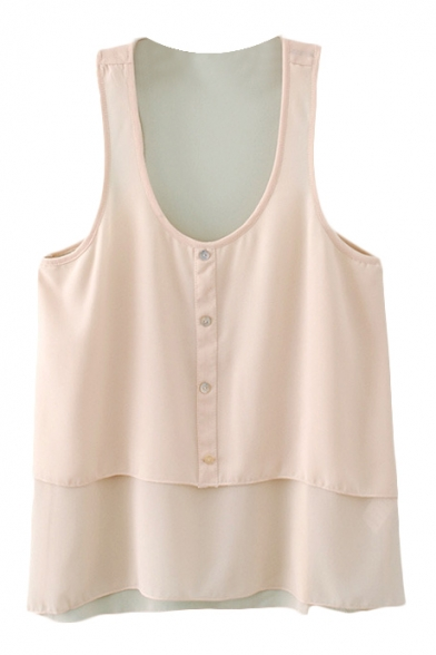 Pink Round Neck Single Breast Chiffon Blouse