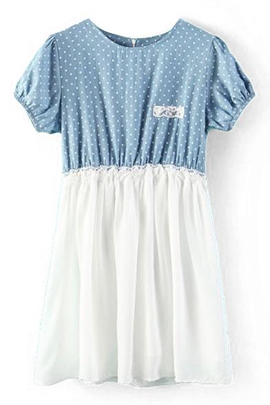 Polka Dot Print Short Sleeve Gathered Waist Dress