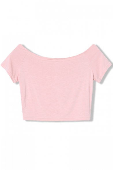 Short Sleeve Round Neck Slim Crop Modal Tee