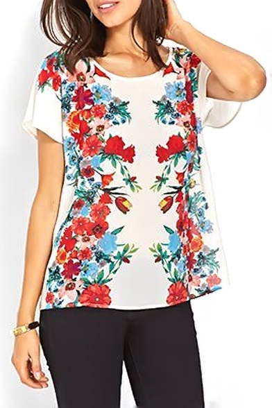 White Short Sleeve Red Blossom Chiffon Blouse