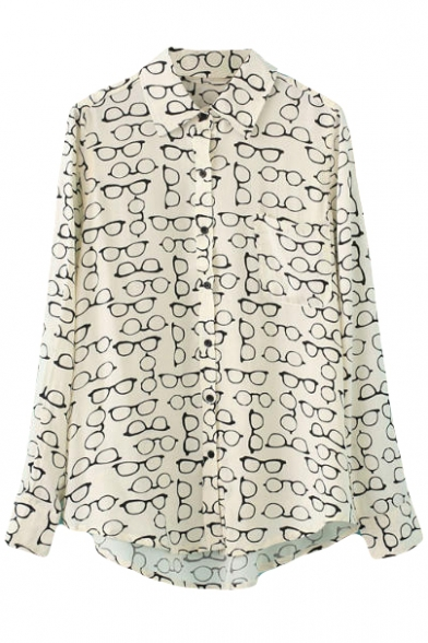 Beige Long Sleeve Glasses Print Cotton Blouse