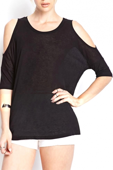 7a5950b0bd5af Black Cold Shoulder Short Sleeve Loose Top - Beautifulhalo.com