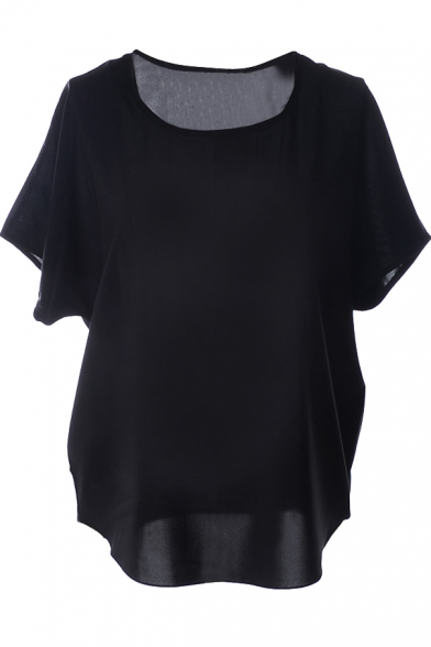 Black Short Sleeve Pocket Front Chiffon Blouse