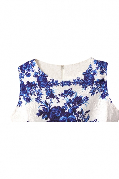 f59d063b91b Blue and White Porcelain Flower Print White Tanks Dress ...