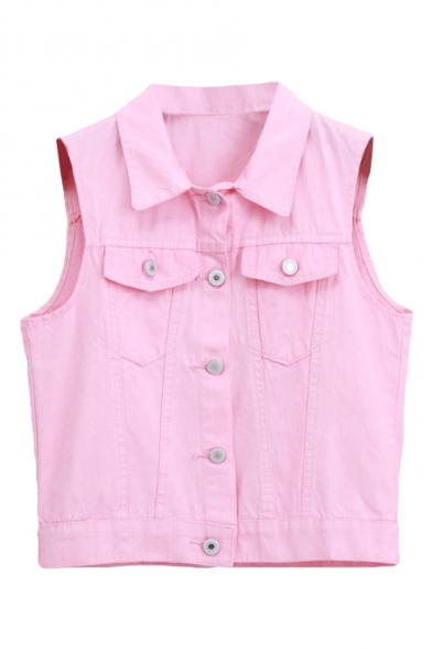 Crop Candy Color Vintage Button Fly Denim Vest