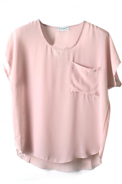 Short Sleeve Pocket Front Chiffon Blouse