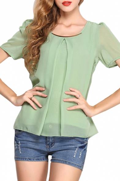 Light Green Short Sleeve Pleated Front Chiffon Blouse