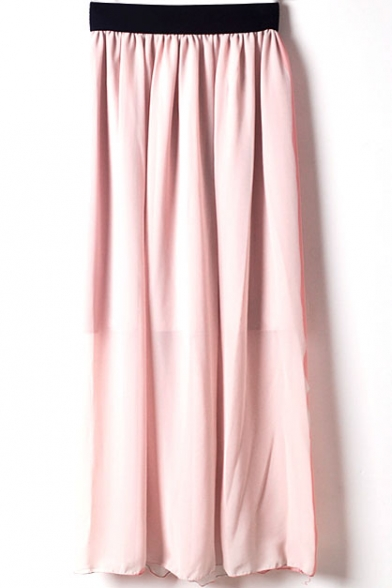 Plain  Elastic Waist Chiffon Maxi Skirt