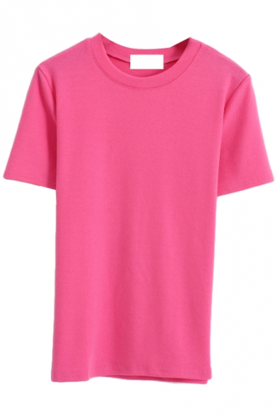 Must-have Style Plain Candy Color Short Sleeve Tee