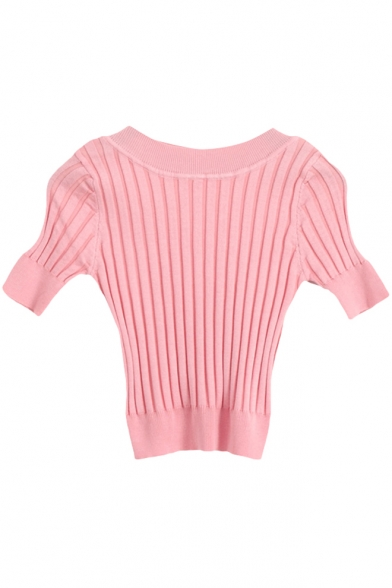 Ribbed Knitting Plain Candy Color Crop Short Sleeve Sweater