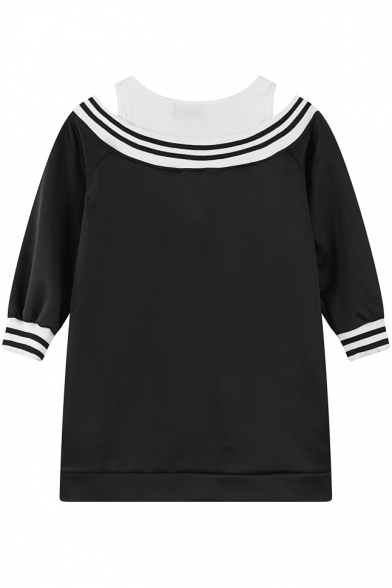 Striped V-Neck Half Sleeve Cold Shoulder Embossed Letter Sweatshirt