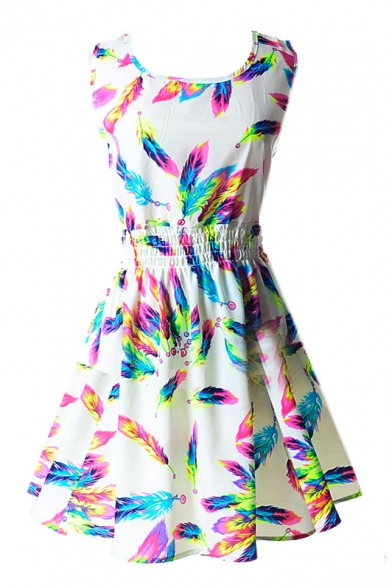 White Sleeveless Colorful Feather Print Dress
